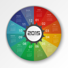 2015 Calendar Design Template - Week Start With Sunday