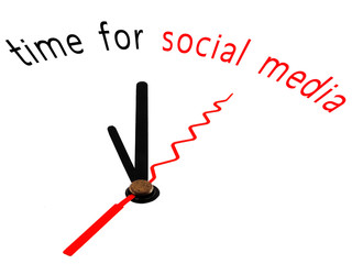 time for social media with clock concept