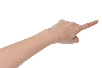 Isolated female hand touching or showing something with index fi