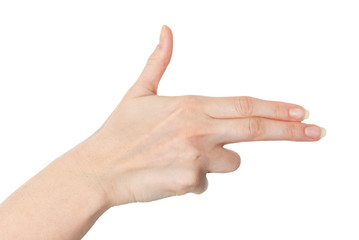 Female hand with fingers pointing or pretending to shoot with a