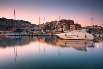 Yachts in Mikrolimano marina in Piraeus, Athens.