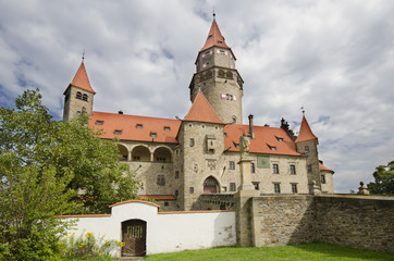 Front view of well preserved gothic castle Bouzov