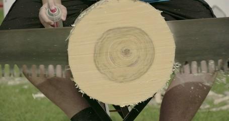 Three men sawing the big log