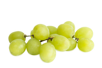 Closeup of small bunch of fresh green table grapes, isolated