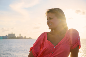 Portrait young woman smile happy sea beauty