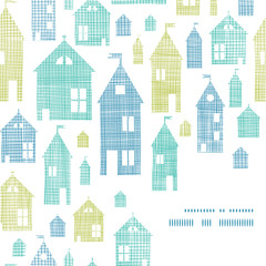 Houses blue green textile texture corner frame seamless pattern