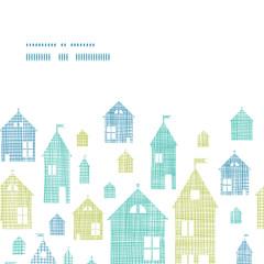 Houses blue green textile texture horizontal frame seamless