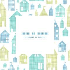 Houses blue green textile texture frame center pattern