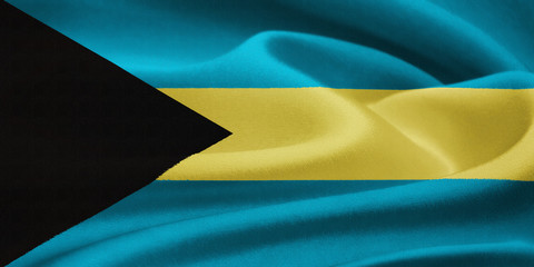 flag of the Bahamas  waving in the wind. Silk texture pattern