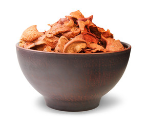 Dried Apples In A Ceramic Bowl