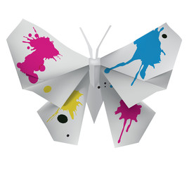 Origami Butterfly with ink