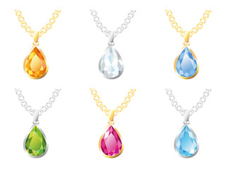 Six Pendants Isolated Objects