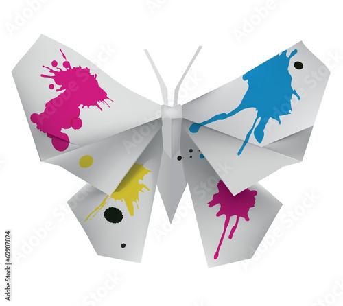 Deurstickers Vlinders in Grunge Origami Butterfly with ink