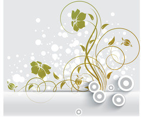 Abstract floral banner with 3D effect