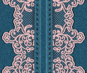 Vertical seamless denim background with lace.