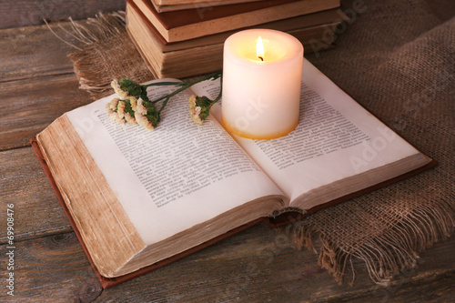 canvas print picture Books, flowers and candle
