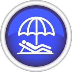 Круглый векторный значок с изображением зонтика