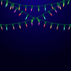 Garland with lights. Christmas background.
