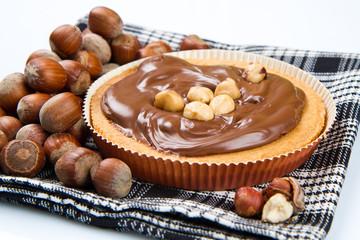 tartlette with chocolate and hazelnut cream