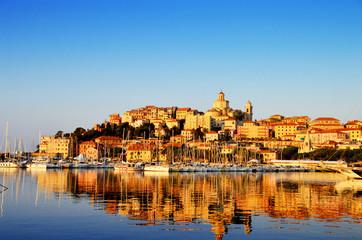City of Imperia, Liguria, Italy during sunrise