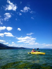 Female kayaker on Lake Tahoe.
