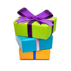 Bunte Geschenke gestapelt übereinander