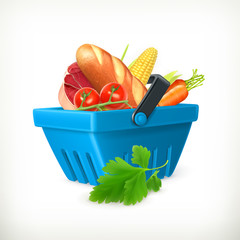 Basket with foods, isolated vector illustration