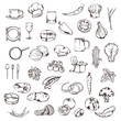 Food, sketches of icons vector set