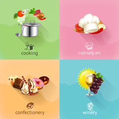 Food, concept vector set