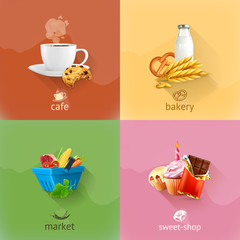 Food concepts, vector set