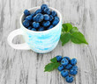 Blueberries in cup on wooden table