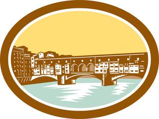 Arch Bridge Ponte Vecchio Florence Woodcut