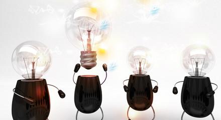 Brainstorming, lampadine, creatività