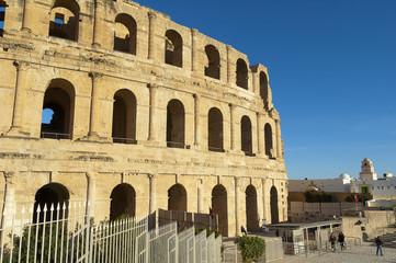 Ancient amphitheater in El Jem, Tunisia