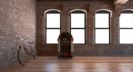 Bicicletta e jukebox in interno vintage