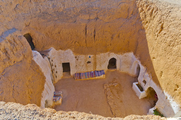 Residential caves of troglodyte in Matmata, Tunisia, Africa