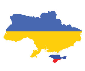 Flag of Ukraine overlaid on map with Crimea
