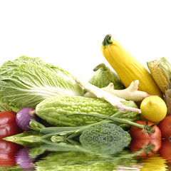 Colorful vegetables with reflection