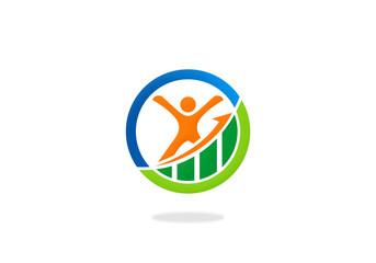success business people happy finance logo