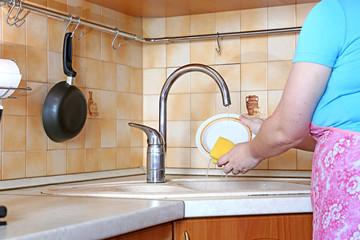 Woman housewife washing dishes