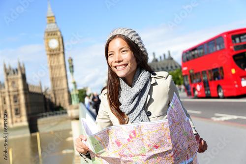 canvas print picture Travel London tourist woman holding map