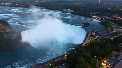 An aerial night view of Niagara Fall