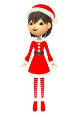 クリスマスの衣装を着た女性