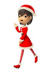 クリスマスの衣装で解説する女性