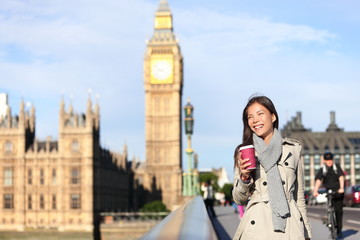 London woman happy by Big Ben