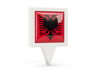 Square flag icon of albania