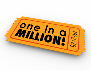 One in a Million Words Raffle Ticket Winner Game Luck Chance