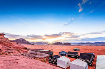 The Valley of the Moon at sunset in Wadi Rum, Jordan.