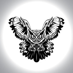 black and white drawing owl