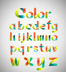 Ribbon alphabet  and colorful font.Lowercase a-z.